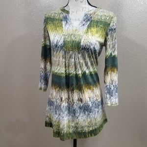 Nic+Zoe Green and Brown Tunic Top Size XS